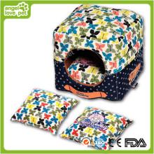 De alta calidad floral patrón portátil casa de perro de mascota y cama