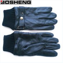 Зимние черные кожаные перчатки с трикотажной манжетой и ремнем