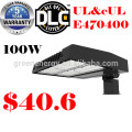 5 year warranty 130lm/w 100w good quality UL ETL DLC CE listed LED shoe box light parking lot light for sport field lighting