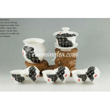 """""""News paper painting"""" Tea Ware Porcelaine Set-1Gaiwan, 1Pitcher et 6 tasses"""