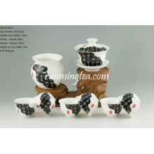 """News paper painting"" Tea Ware Porcelain Set-1Gaiwan, 1Pitcher & 6 Cups"