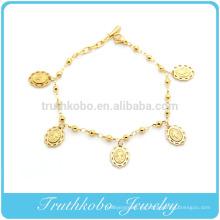 TKB-B0092 Encanto italiano de acero inoxidable de excepcional calidad con brazalete de color dorado de la Medalla de los Santos