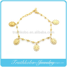 TKB-B0092 Exceptional Quality Stainless Steel Italian Charm with Saints Medal gold color Pendant Bracelet
