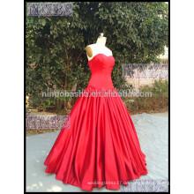 2015 Atemberaubende A-Linie trägerlosen Schatz rote Brautkleid gefaltet mit schnüren sich oben Verschluss Taft Brautkleid
