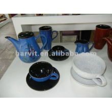 Stoneware Hand-painting And Reactive Glaze Tea Set