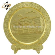 New products antique gold embossed building logo custom souvenir plaque