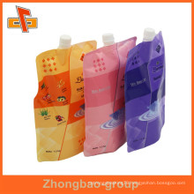 China vendor lamimated material custom plastic printed liquid stand up pouch with spout for body lotion