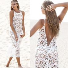 Западный Стиль Сексуальный Белый Кружево Макси Пляж Платье (50150)