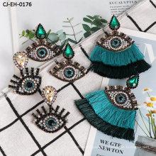 New Diamond-Encrusted Exaggerated Eye Tassel Earrings Devil′s Eye Earrings