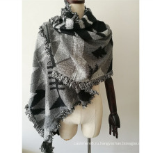 Женские Кашемировые люблю вязаные зимние тяжелые треугольник Геометрия печать шарф шаль (накопитель sp300 обеспечивает)