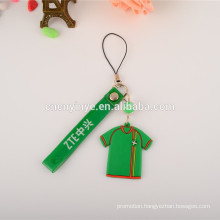 New custom printed PVC Jersey shape phone pendant