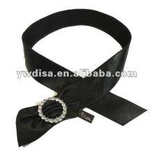 Correa de la PU de las mujeres con la PU negra, Rhinestones claros, accesorios de la aleación con rodio plateado