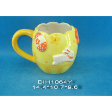 Hand-Painted Ceramic Coffee Mug for Easter Decoration