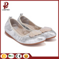 stylish women flat silver shoes with beads