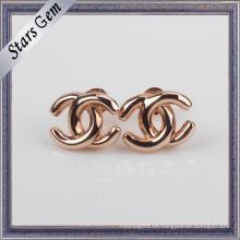 Cruz de diseño único de oro rosa plateado 925 pendiente de joyería de plata Stud