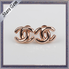 Cross Unique Design Rose Gold Plated 925 Silver Jewelry Earring Stud