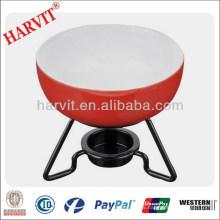 Venta al por mayor de fondue de chocolate Set / cerámica roja ollas de cocina con soporte de metal / Pizza Fondue de queso
