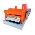 Novo design botou hebei fornecedor cantão justo 828 vitrificado de alumínio telha colorida telha vitrificada rolo dá forma à máquina
