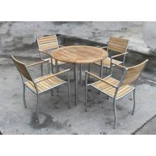 Jardín exterior de madera de teca silla y mesa de restaurante
