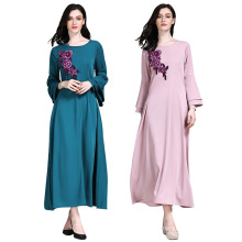 Kaftan islâmico longo vestido azul rosa personalizado Abaya modelos Dubai