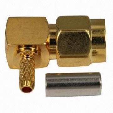 Right angle SMA male connector for cable assembly