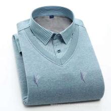 Мужская теплая плюшевая рубашка с длинными рукавами