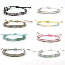 UNIQ AB001 2020 Fashion Handmade Multi-color Beads Braided Ankle Bracelet Woven Bracelet Adjustable for Women or Man