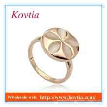 Fashion jewelry opal flower shape wide gold rings silicone wedding ring