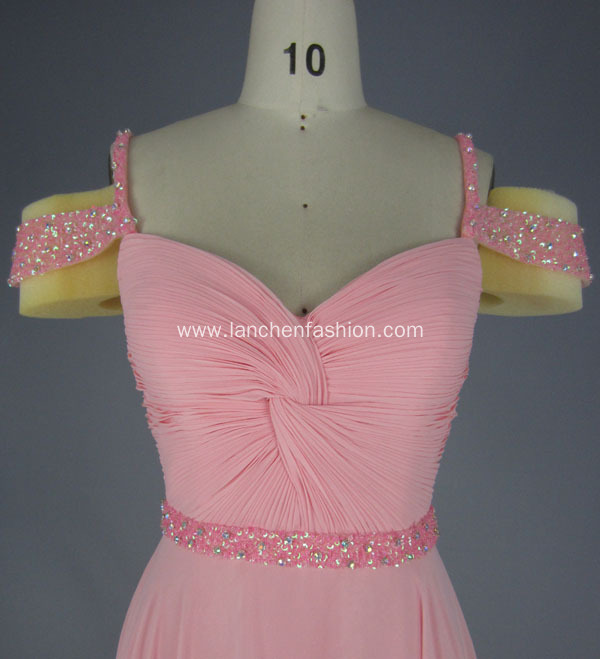 Pink Exquisite Straps Beading Belt Bridesmaid Dress
