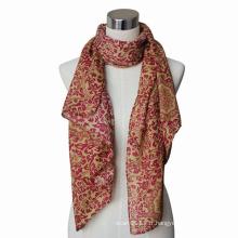 Écharpe tricotée de Voile de coton imprimée de Madame Fashion Paisley (YKY4064)