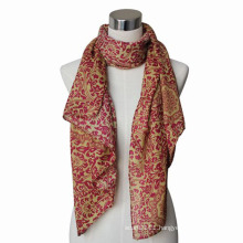 Lady Fashion Paisley Printed Cotton Voile Knitted Scarf (YKY4064)