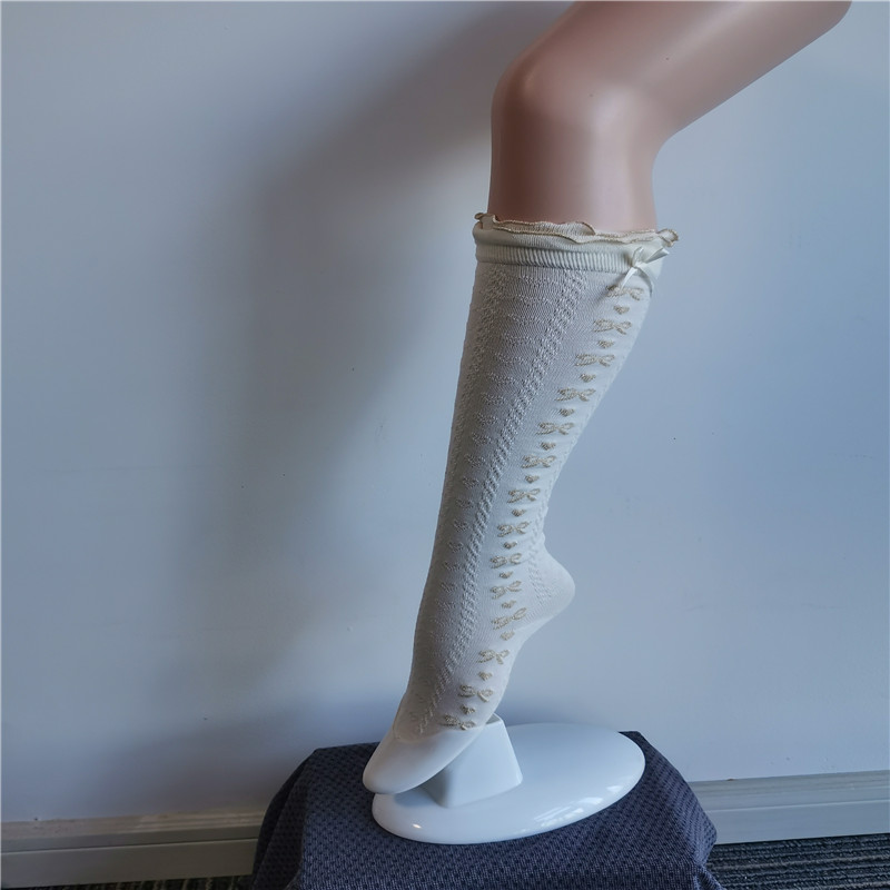 Dreamy White Lace Nylon Embroidered Princess High Socks