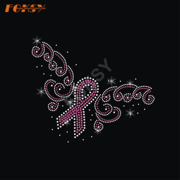 Flower Pink Ribbon Hot Fix Rhinestone Transfer