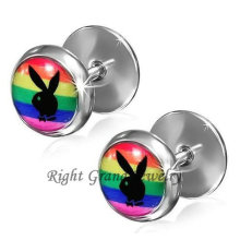 16G Steel 12mm Playboy Cheater Plugs