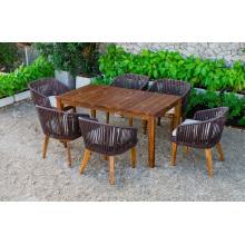 Elegant Design Poly Rattan Coffee Dining Set Pernas e mesa de madeira