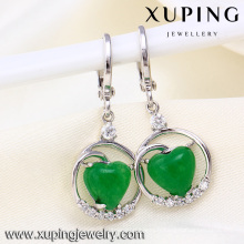 Belle conception douce coeur vert pierre haute qualité mode boucles d'oreilles pour les femmes