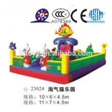 JQ23024 gigante inflável parque de gato impertinente sentar e saltar bolas saltando bouncer