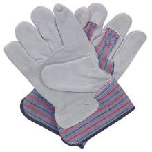 Cuero de vaca derramado guantes de trabajo de seguridad para la construcción