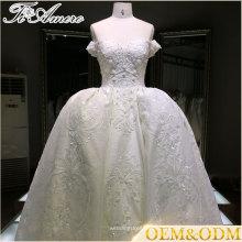 Полупрозрачная аппликация Длина пола из бисера Кристалл ли обязательным бальное платье свадебные платья 2016