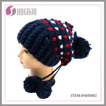 Chapeau de mode hiver femme avec POM POM