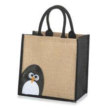 Black Jute Handle Penguin Printed Recycle Hemp Lightweight Jute Tote Bag for Grocery