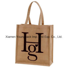 Fördernde kundenspezifische Logo druckte ökologische wiederverwendbare natürliche Jute-Tasche