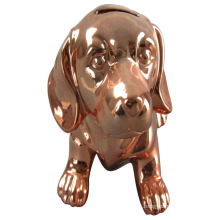 Plating Copper Dog Shape Ceramic Piggy Bank for Home Decoration