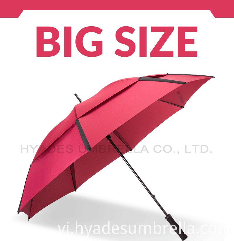 Large Double Layered Windproof Golf Umbrella Plain Color