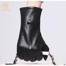 Guantes de cuero del vestido del invierno de la manera negra para las señoras
