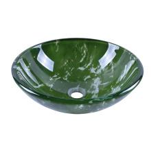 Double Layer Green Glass Wash Basin Cobblestone