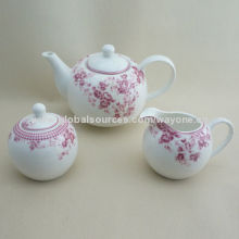 3pcs Tet Set (Tea Pot+Sugar Pot+Creamer) with Red Flower Design, Suitable for Promotion and Home Use