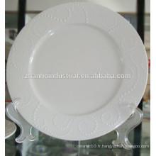 Plaque en céramique, plaque en porcelaine, assiette avec gaufrage