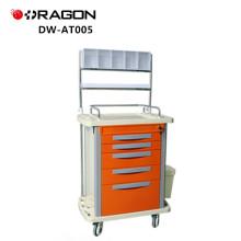 Chariot médical d'urgence d'anesthésie multifonction en plastique de haute qualité d'ABS