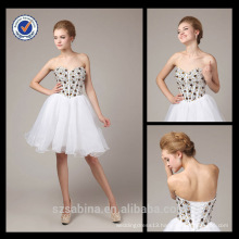2013 New Fashion Wholesale Charming Mini Sweetheart White Organza Dress With Sparkly Crystals Evening Dress 6625